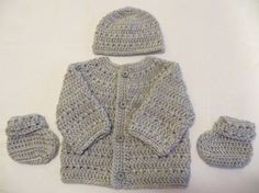 Baby sweater set crochet sweater with matching hat and by KEL2D2, $35.00