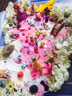 Flower Fairies Play Dough Sensory Bin