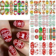 New Xmas Nail Wraps Luminous Glow Full Nail Sticker Christmas Santa Nail Art Decorations Foils Tips DIY Decal 11 Kind Of Styles