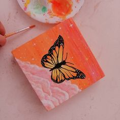 Mariana con on Instagram: Aesthetic butterfly . . . . . . . . #aesthetic #art #butterfly #sky #dream #artistsoninstagram #aestheticart #acrylicpainting #pinksky Small Canvas Paintings, Easy Canvas Art, Small Canvas Art, Easy Canvas Painting, Cute Paintings, Mini Canvas Art, Diy Painting, Aesthetic Painting, Aesthetic Art