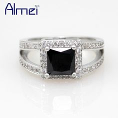 Find More Rings Information about Almei Silver Jewelry Rings for Women 2016 Vintage Punk Zircon Anel Black CZ Diamond Anillos Engagement Ring Bague Femme Y017,High Quality ring,China ring deck Suppliers, Cheap ring lug from Almei Jewelry Store on Aliexpress.com