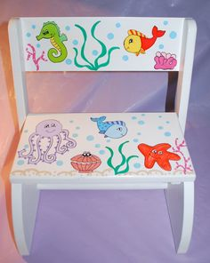Children's Flip Step Stool Bench - Ocean -Hand Painted and Personalized. $45.00, via Etsy.
