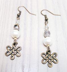 Amber Pearl Infinity Knot  Earrings