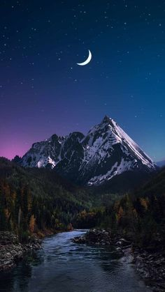 Snow Peaks In Night - IPhone Wallpapers