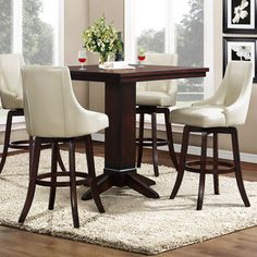 vella cream white swivel upholstered 5piece pub height set - Counter Height Chairs