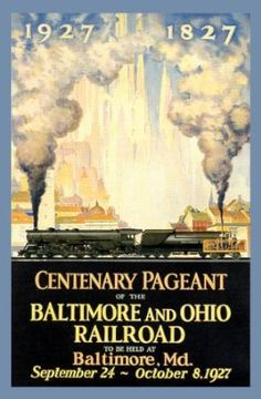 TRAIN CENTENARY PAGEANT BALTIMORE MARYLAND OHIO RAILROAD AMERICAN SMALL VINTAGE POSTER CANVAS REPRO