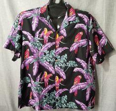 1c11ea06 Paradise Found Mens Hawaiian Shirt Sz XL Black Jungle Bird Magnum PI  Tropical #ParadiseFound #