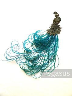 Victorian Bronze Peacock with Peacock feather plume tail  (1 Pieces)(7 inches long) use on fascinators, hats, wedding decoration, wreaths on Etsy, $6.00