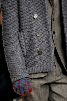 Time to duplicate this stitch.  (gloves are cute too) Burberry Prorsum Fall 2012 Menswear
