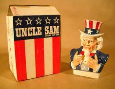 Vintage 1960's UNCLE SAM Figural Ceramic BANK