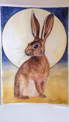 The Hare and the Moon. Watercolour and pen, artwork by Abigail seymour.