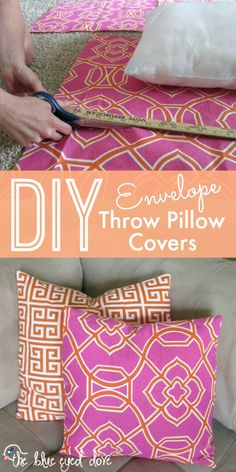 Envelope Throw Pillow Covers Easy instructions for making your own DIY Envelope Throw Pilllows! Easy instructions for making your own DIY Envelope Throw Pilllows! Diy Throws, Diy Throw Pillows, Diy Pillow Covers, Sewing Pillows, Designer Throw Pillows, Pillow Inserts, Sewing Tutorials, Sewing Hacks, Sewing Crafts