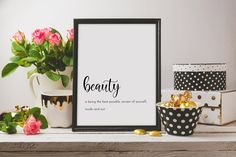 Beauty definition print   beautiful printable wall art, gift for women, gifts for her, inspirational wall art, minimalist print downloadable by SmallMiraclePrints on Etsy