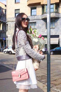 Chinese actress and singer Ms.#YangMi spotted during the #MFW wearing a #Bulgari #Serpenti bag and Serpenti #eyewear
