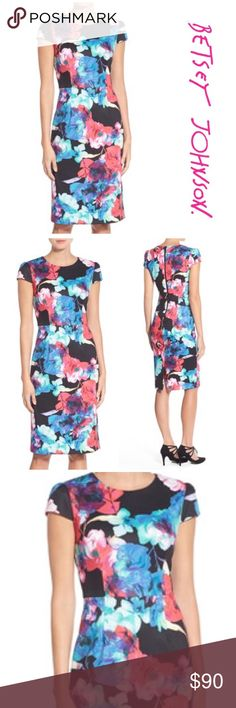 "NWT Betsy Johnson Floral Midi Dress - Brand new with tags Betsy Johnson Floral Midi Dress. Crew neck/ Cap sleeves/ zip closure/ Fully lined/ Approx. 40"" length/ Pit to pit 18""/ waist 16"". Shell made of poly/ spandex blend. Lining made of 100% polyester Betsey Johnson Dresses Midi"