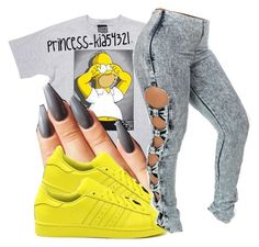 """""""*"""" by princess-kia54321 ❤ liked on Polyvore featuring Hype Means Nothing and adidas"""