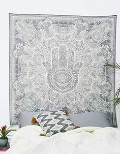 Exclusive Hamsa Hand Branded Tapestry For Goodluck By Raajsee, gray Indian Mandala Wall Art, black and white tapestry, Hippie Wall Hanging, Bohemian Bedspread size 210 * 230 cms: Amazon.co.uk: Kitchen & Home