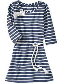 Striped Rope-Belt Tee Dress - Old Navy