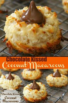 Chocolate Kissed Coconut Macaroons A light and fluffy chocolate topped cookie. Coconut Recipes, Baking Recipes, Cookie Recipes, Coconut Macroons Recipe, Coconut Cookie Recipe, Köstliche Desserts, Delicious Desserts, Dessert Recipes, Holiday Baking