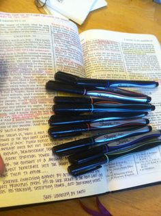 Love these sharpie pens (fine) for scripture marking. They don't bleed and have lasted for 3 years so far!