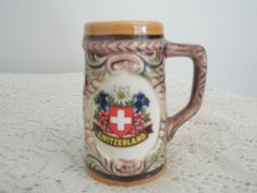 Swiss Beer Stein, Miniature ceramic stein with Swiss Coat of Arm and Swiss…