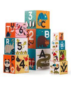 Look at this #zulilyfind! Jungle Jamboree ABC/123 Nesting Block Set #zulilyfinds