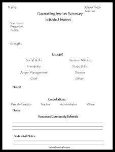 School Counseling Documentation Form - The Helpful Counselor