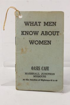 What Men Know Abt Women Booklet Empty Pgs Vtg Advertiser Oasis Cafe Marshall MO