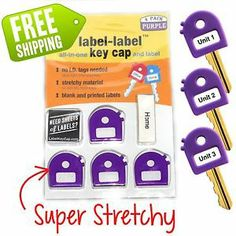 Super stretchy, soft grip label label key cap. fits most keys! 4 packs in purple now available!