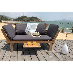 Découvrez l offre FINLANDEK - Banquette de jardin 2 places convertible avec  tablette 20f964add98c
