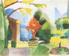 Fine art giclee print called Garden in Hilterfingen by the German expressionist painter August Macke. August Macke, Cavalier Bleu, Blue Rider, Franz Marc, Expressionist Artists, Wassily Kandinsky, Vintage Artwork, Cubism, Gouache