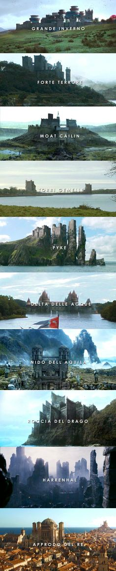 WESTEROS - Winterfell, Dreadfort, Moat Cailin, The Twins, Pyke, Riverrun, The Eyrie, Dragonstone, Harrenhal and King's Landing