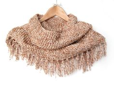 Melange Brown Fringed Scarf - Knitted Wrap by ElvishThings