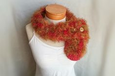 Button neckwarmer fuzzy knit neck scarf cowl orange gold mustard yello coral green