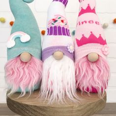 Want to learn how to make your own gnomes? Grab our DIY gnome making pattern and photo tutorial to make adorable gnomes, just like these ones! New Crafts, Yarn Crafts, Crafts To Make, Sewing Crafts, Valentine Crafts, Easter Crafts, Holiday Crafts, Valentines, Girl Gnome
