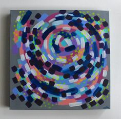 Abstract Painting Art Spiral Swirl Square Pink And Blue Home Acrylic 16x16 Gallery Wrap Canvas