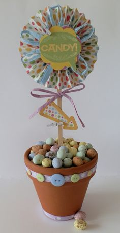 Xyron Easter Crafting -- this is a cute little table decoration for holding all those yummy candy mini eggs -- tutorial