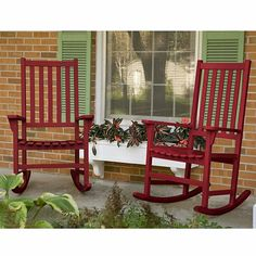 2-Piece FSC Certified Wood Patio Rocker Set - Red. Only if I have a big porch. Maybe I will go get those big checkers from the Cracker Barrel....