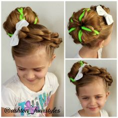 For St. Patrick's Day we had a little fun with Ashton's hair and did this big bun. :-) Ashton is wearing a bow from Katie Craft Shack. We love her bows.  I will link up to her store for you.
