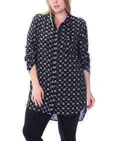 Look at this #zulilyfind! Color Lounge Black Floral Hi-Low Tunic - Plus by Color Lounge #zulilyfinds