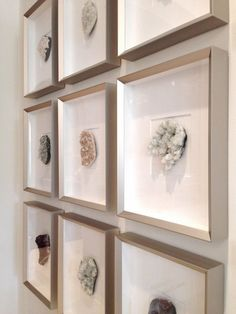 geodes in frames displayed as a gallery wall