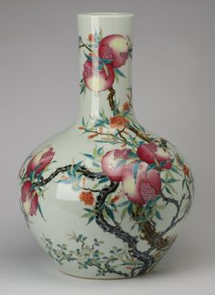 "Chinese famille rose porcelain bottle vase decorated with branches of ripe pomegranates ~ late 19th or early 20th century, Qianlong mark, 23""h x 18"" diameter"