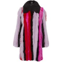 Versace Striped Fur Coat (43,775 BAM) ❤ liked on Polyvore featuring outerwear, coats, jackets, versace, fox coat, purple fur coat, versace coats, oversized fur coat and stripe coat