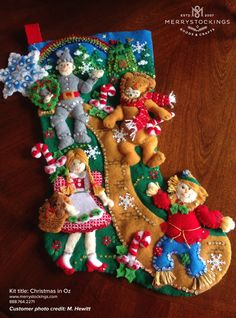 Customer photo of Christmas in Oz Bucilla stocking kit Felt Stocking Kit, Christmas Stocking Kits, Felt Christmas Stockings, Christmas Cross, Vintage Christmas, Christmas Time, Yule Crafts, Felt Ornaments Patterns, Christmas Decorations