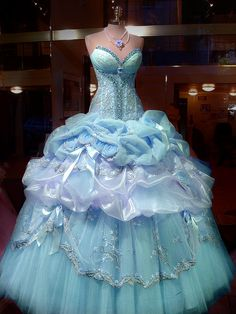 A True Cinderella Gown! This is the kind of gown I want my first Halloween costume to be.....since I've never been able to dress up, I'm waiting for that dream come true cinderella or ariel or princess dress. :( maybe one day.... -Jess