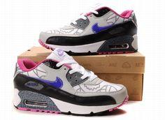 White Grey Black Purple Womens Air Max 90 Nike Shoes Nike Air Max 250b2be83