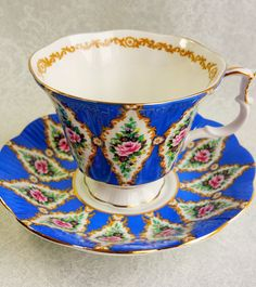 ROYAL ALBERT Blue Bone China Vintage Tea Cup and by HoneyandBumble