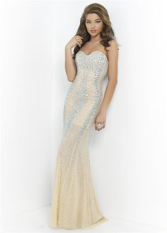 Blush Prom 9912 Strapless Rhinestone Beaded Lines Beaded Prom Dress 2015