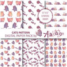 SALE / Cat Seamless Pattern / Cute Digital by AlakazooDesigns
