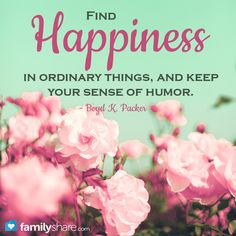 Find happiness in ordinary things, and keep your sense of humor. - Boyd K. Packer